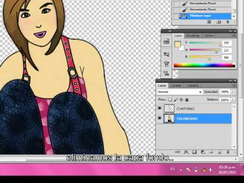 tutorial photoshop - como pasar una fotografia a un dibujo animado anime (photoshop)