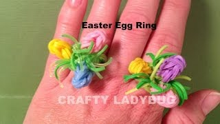 Rainbow Loom Charm EASTER EGG RING How To Make By Crafty