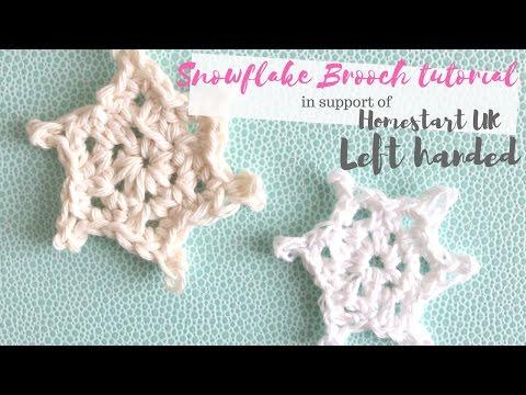 LEFT HANDED CROCHET: Snowflake brooch | Bella Coco