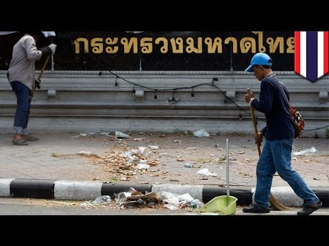 Bangkok protest site explosion injures 6 cleaners