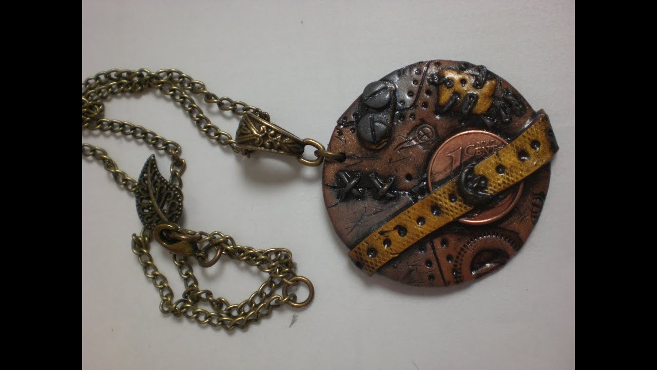 tuto collier pendentif steampunk en fimo youtube. Black Bedroom Furniture Sets. Home Design Ideas