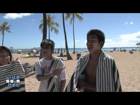 Andrew, Patrick, and Trisha of Rainbow Aquatics Swim Team - 2010 Waikiki Rough Water Swim