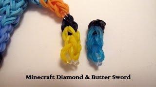 How To Make Minecraft Diamond & Gold Swords On Rainbow Loom