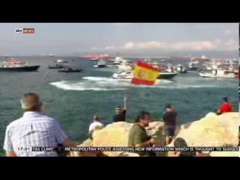 David Bowden updates Sky on Gibraltar water flotilla protest 18/08/13