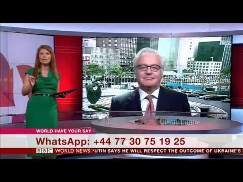 Russia's Ambassador to the U.N., Vitaly Churkin gives an interview to the BBC