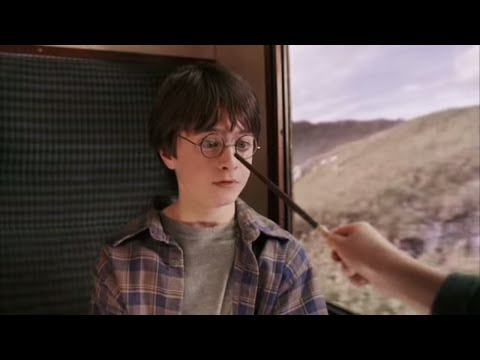 Harry, Ron and Hermione meet for the first time on the Hogwarts Express.,