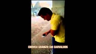 Chove granizo em Carvalhos,  no Sul de Minas