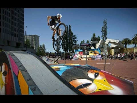 Fixed gear bike jam on colorful features - Red Bull Ride + Style 2014