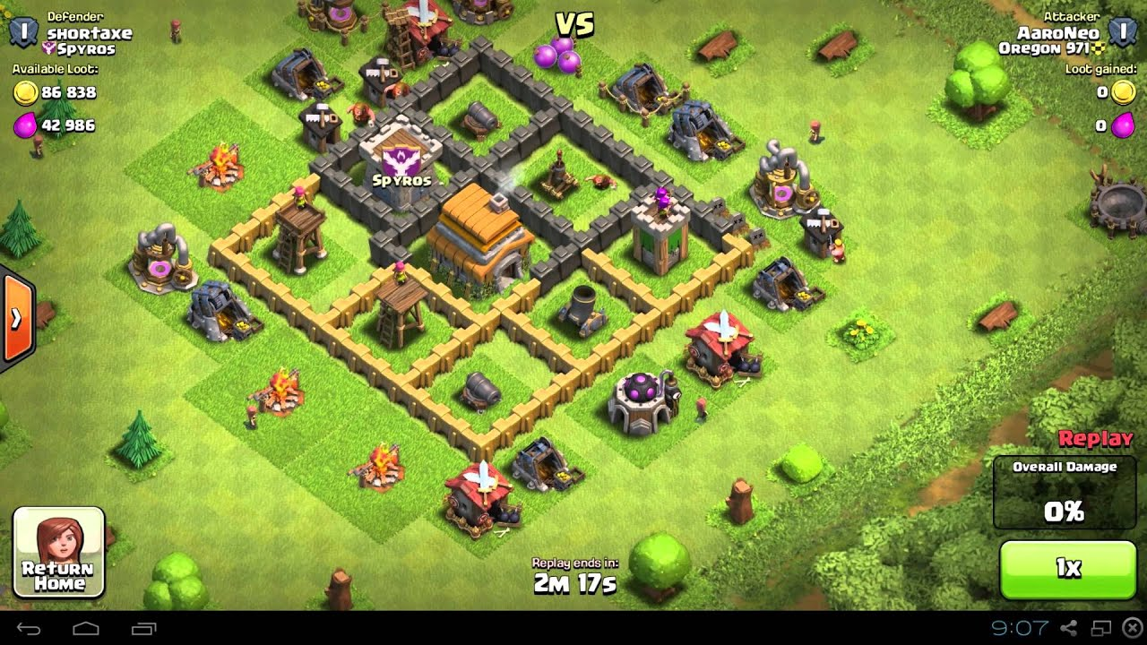 Town hall 5 clash of clans trophy base