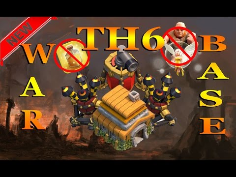 Clash of clans - New Best TH6 War base (Anti Giant-healer) + Air sweeper 2016 !!