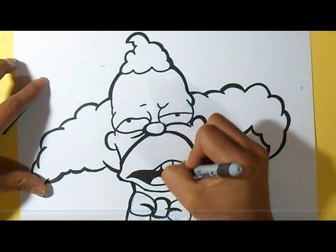 Como desenhar Krusty, o palhaço Grafite | by Dw