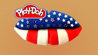 How To Make Lip Art US Flag Out Of Play Doh Play-Doh Craft
