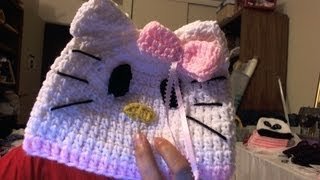 "How To Crochet Beanie Inspired By ""Hello Kitty"" Beanie"