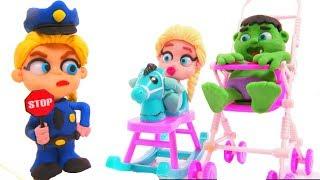 FROZEN ELSA POLICE STOPS SUPERHERO BABIES ❤ Spiderman, Hulk & Frozen Elsa Play Doh Cartoons For Kids