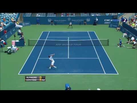 Incredible Shot ~ Almagro vs Dimitrov ~ Cincinnati Masters 2013