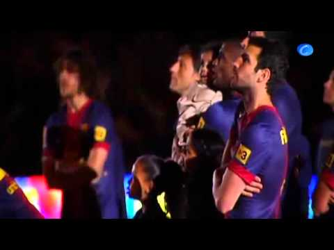 El Bara celebra la Liga espaola en el Camp Nou