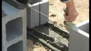 Colocación de bloques de hormigón