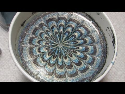 Black, Blue & Green Halo Hues Water Marble Nail Art Tutorial (Water Marble March 2013 #1)