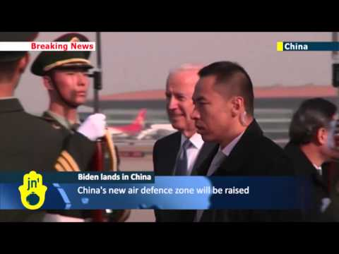 A plane carrying U.S. Vice President Joe Biden landed in Beijing. Biden is scheduled to meet Chinese President Xi Jinping and Vice President Li Yuanchao in the Chinese capital on Wednesday before flying to Seoul later in the week. Top of the agenda is China\'s new air defence zone, which has rattled Washington, Tokyo and Seoul.