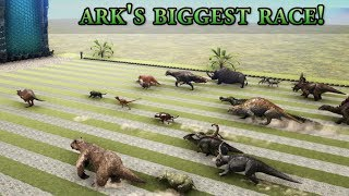 Which one is ARK's FASTEST Creature? - GIANT RACE with all Dinosaurs || Cantex