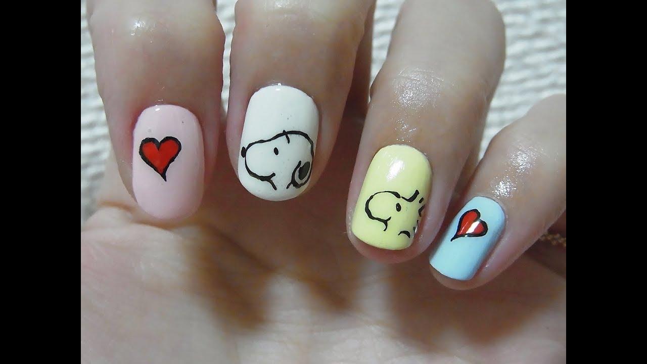 Snoopy nail art - YouTube