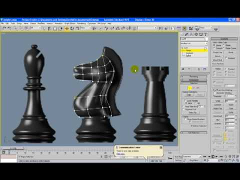 3d max tutorial: Moddeling chess set - The knight - part 1