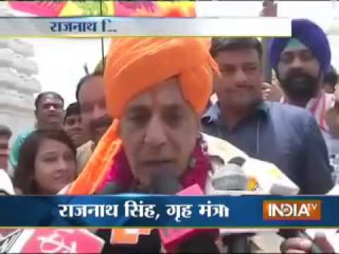 Home Minister Rajnath Singh arrives at the Jagannath Temple