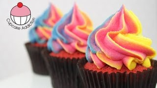 Easy Rainbow Frosting Swirl Technique for Cupcakes! - A Cupcake Addiction How To Tutorial