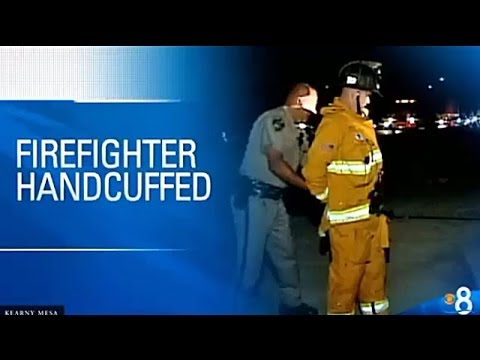 Calif. firefighter handcuffed for blocking traffic at rollover scene