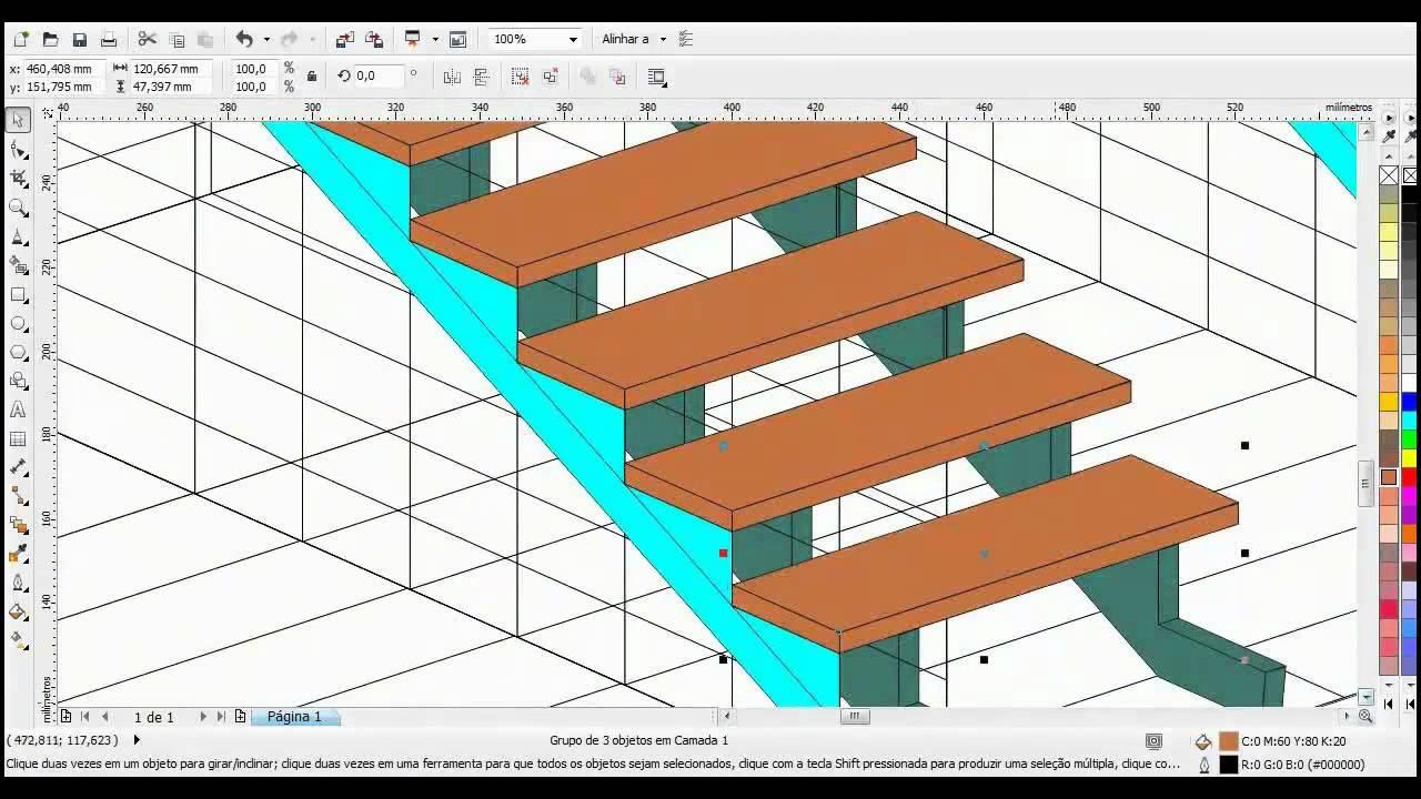 corel draw projetando escada 3d mp4 youtube. Black Bedroom Furniture Sets. Home Design Ideas