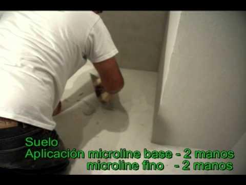 Aplicación de microcemento en baño - YouTube