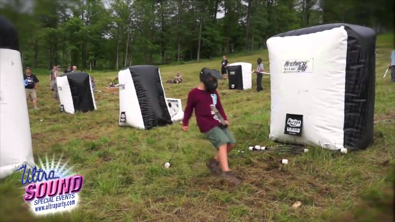 Archery tag utilizes patent pending arrows with marshmallow type tips and is played with up to 16 players on a 50' x 100' field. Events can be organized indo...