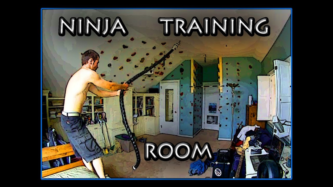 Backyard American Ninja Warrior Obstacle Course : Ninja Warrior Training Room  YouTube