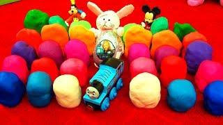 30 Play Doh Surprise Eggs! Disney Cars Toy Story LPS MLP TMNT Spongebob Playdough Cookie Monster Fun