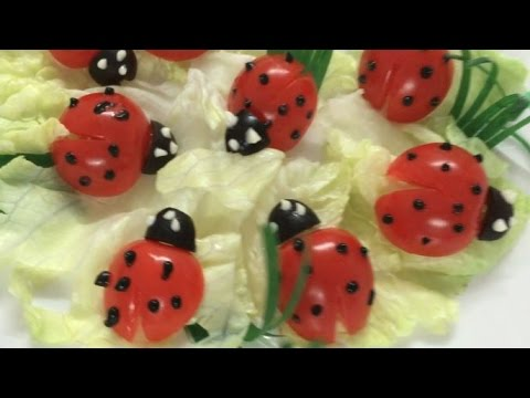 Beautiful ladybug | How to Make Tomato Decoration | By Just For Fun In Fruit And Vegetable Carving