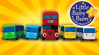 Ten Little Buses | From Wheels On The Bus | Nursery Rhymes | by LittleBabyBum!