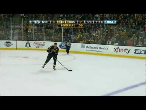 Milan Lucic ties the game with goalie pulled vs Nashville 2/11/12