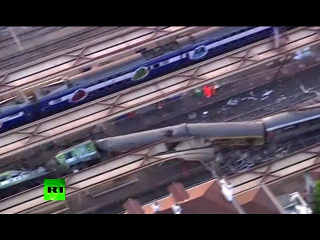 Video: Train derails in Paris suburbs, crashes into crowded platform