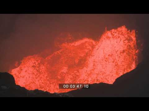 Marum Volcano Ambrym Violently Erupting Lava Lake HD Stock Footage 1920x1080 30p