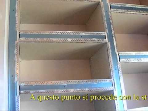 libreria in cartongesso - YouTube