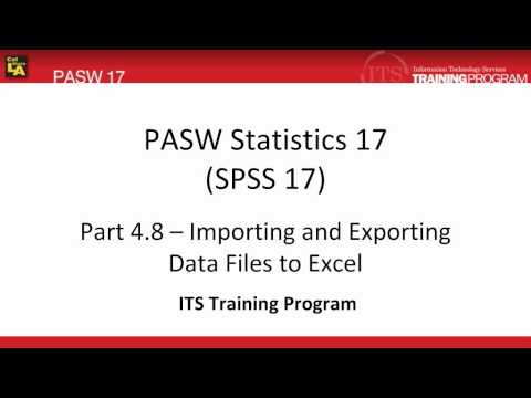 4.8 Import Export Data to or from Excel: PASW (SPSS) Statistics v.17 video