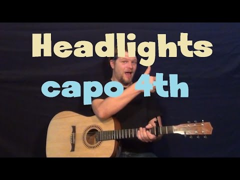 Headlights (Eminem) Easy Guitar Lesson How to Play Tutorial Capo 4th