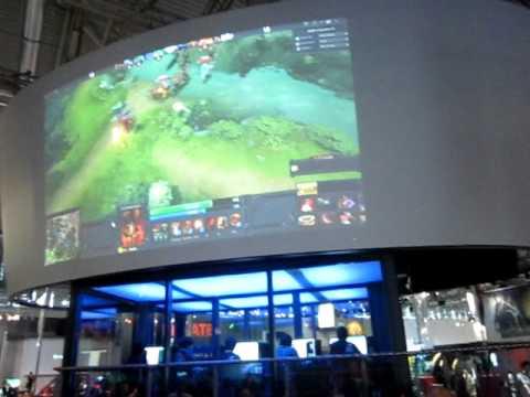 Видео с игровой зоны Dota 2.