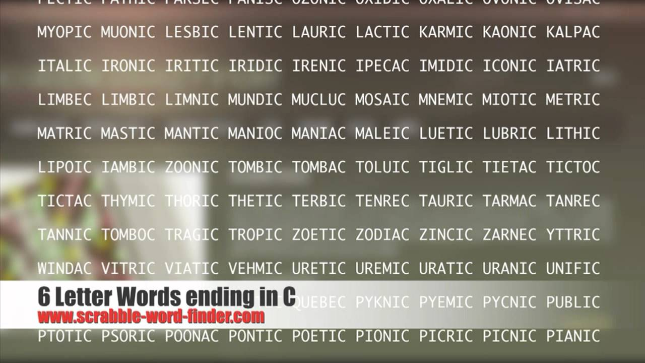 letter words ending in C - YouTube