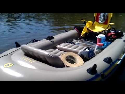 Intex excursion 5 inflatable raft with 44lb trolling motor for Wood floor intex excursion 5