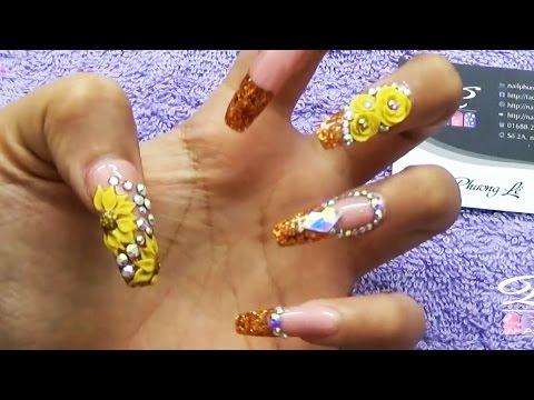 Đào tạo nail, dạy học nghề vẽ móng tay chuyên nghiệp, 9 loại hoa bột bài 1: Hoa hướng dương