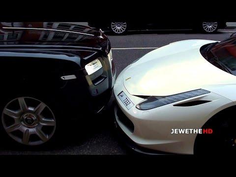 فيديو رولز رويس تصادم فيراري 458 خاصة ...