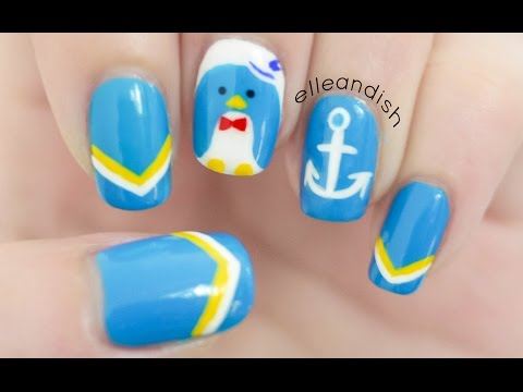 Nautical Penguin Nail Art
