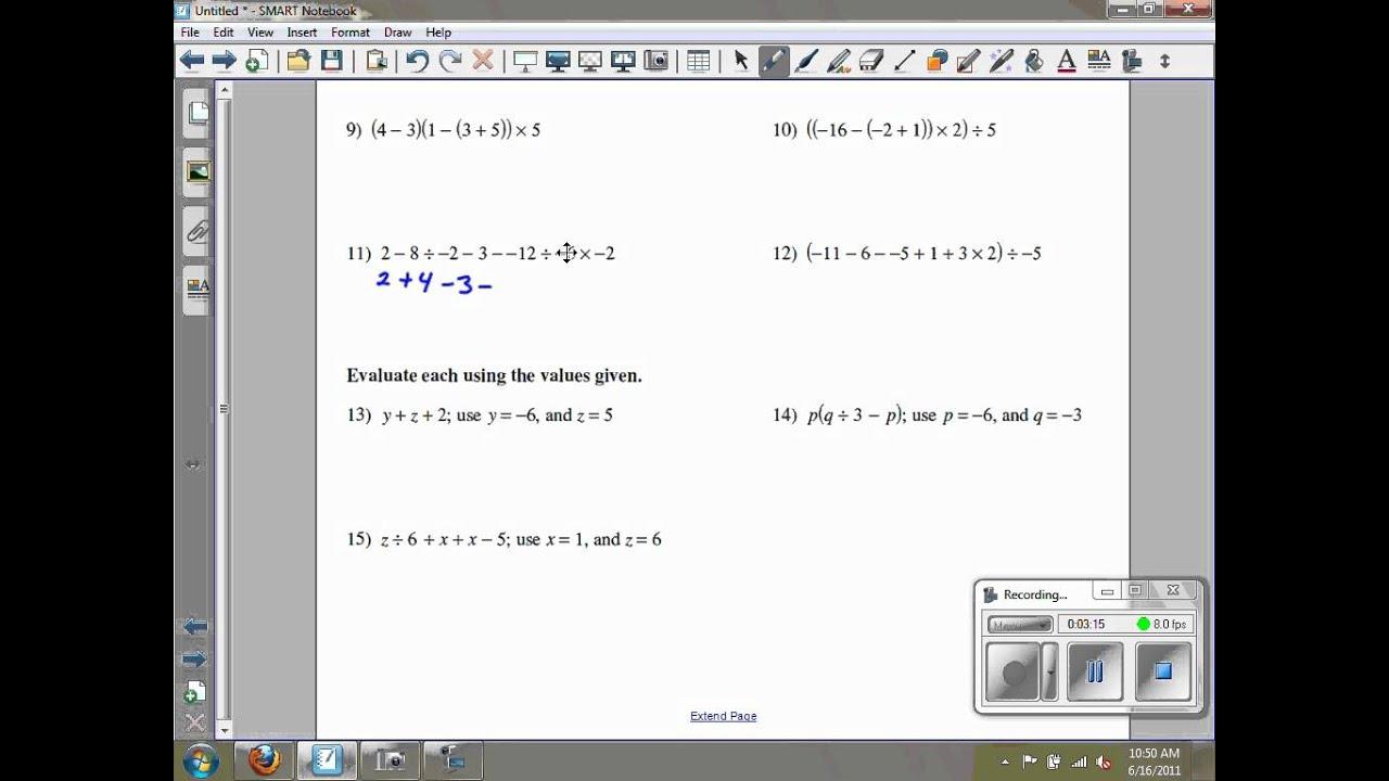 Numerical Expressions Kuta Software Infinite Algebra 2 Ghchs  Youtube