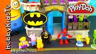 PLAY-DOH Batman, Spiderman COMPETITION! Gotham Jail Story
